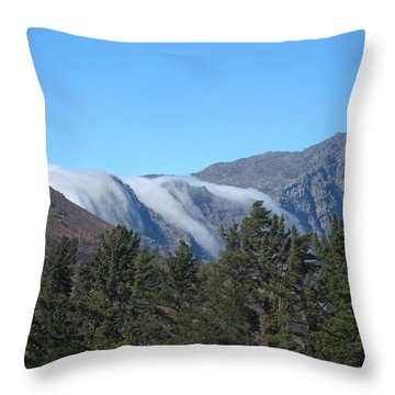 Clouds Flowing Over The Mountains Throw Pillow