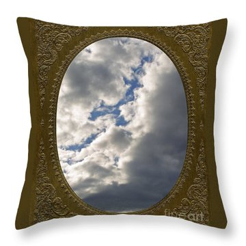 Clouds In Vintage Metalic Frame Throw Pillow