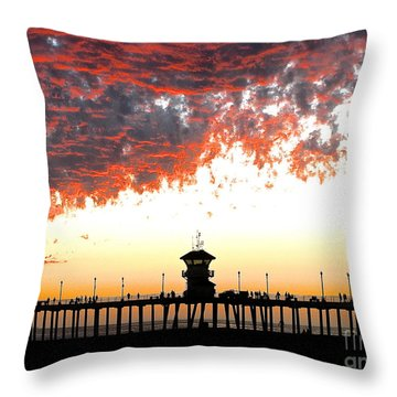 Throw Pillow featuring the photograph Clouds On Fire by Margie Amberge