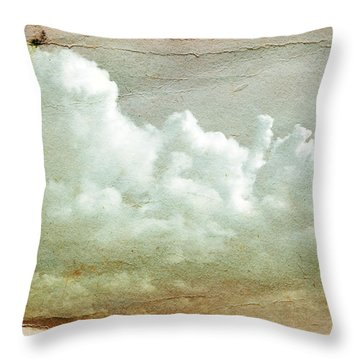Clouds On Old Grunge Paper Throw Pillow by Michal Bednarek