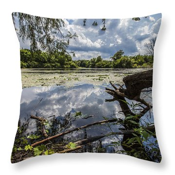 Clouds On The Water Throw Pillow by CJ Schmit