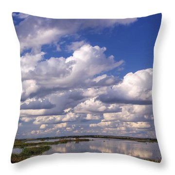 Clouds Over Cheyenne Bottoms Throw Pillow by Rob Graham