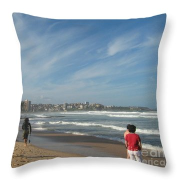Throw Pillow featuring the photograph Clouds Over Manly Beach by Leanne Seymour