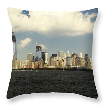 Clouds Over New York Skyline Throw Pillow