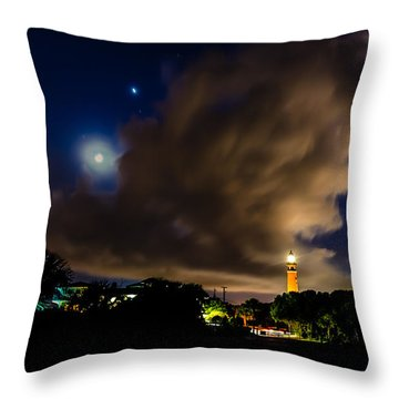 Clouds Over The Lighthouse Throw Pillow