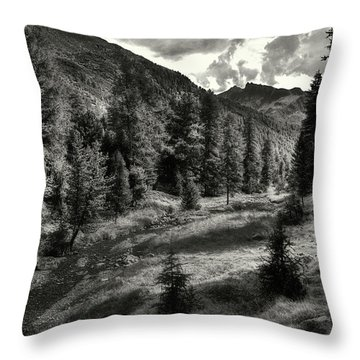 Clouds Over The Mountainscape Throw Pillow