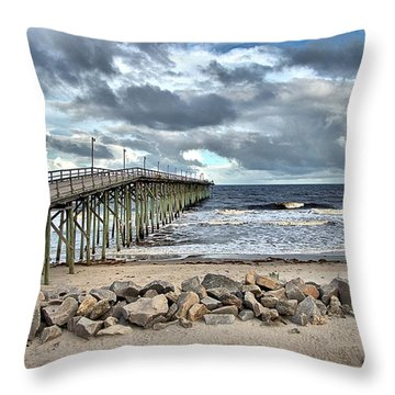 Clouds Over The Pier Throw Pillow