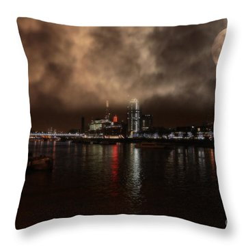 Clouds Over The River Thames Throw Pillow by Doc Braham