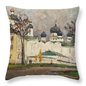Cloudy At Uglich Throw Pillow