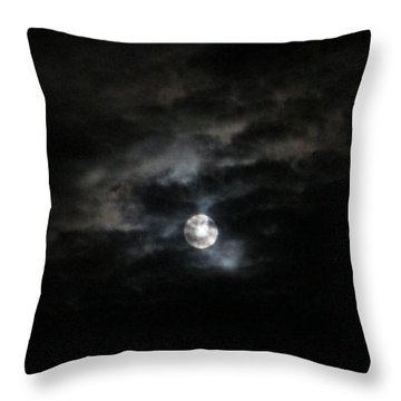 Night Time Cloudy Dark Moon Throw Pillow by Barbara Yearty