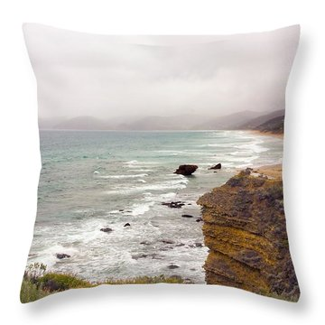Cloudy Day Along The Great Ocean Road Throw Pillow