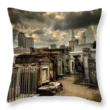Cloudy Day At St. Louis Cemetery Throw Pillow