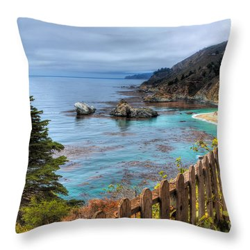 Cloudy Day In Big Sur Throw Pillow