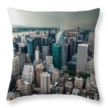 cloudy Manhattan Throw Pillow by Hannes Cmarits