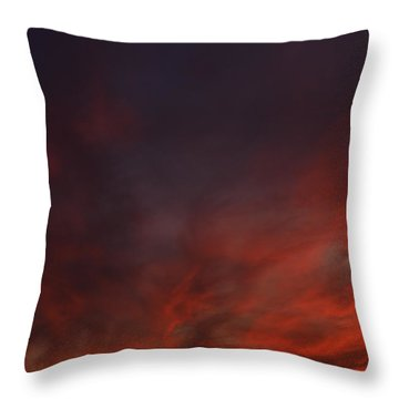 Cloudy Red Sunset Throw Pillow