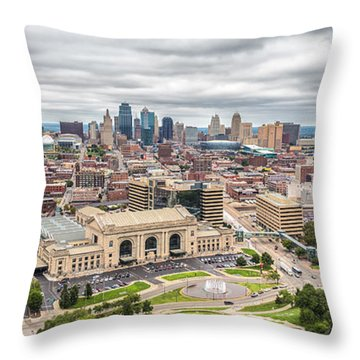 Cloudy Sky Over Kansas City Throw Pillow