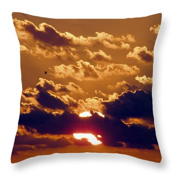 Key West Cloudy Sunset Throw Pillow
