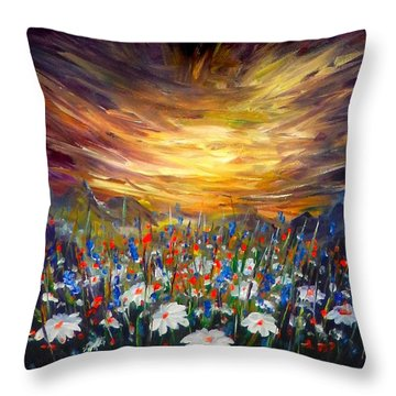 Throw Pillow featuring the painting Cloudy Sunset In Valley by Lilia D