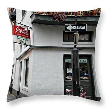 Clover Grill On Bourbon Street Throw Pillow by Lynn Jordan