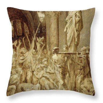 Clovis 465-511 Carried On His Shield Oil On Canvas Throw Pillow
