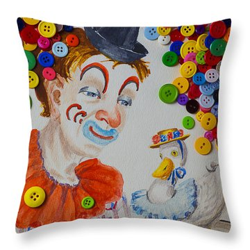 Clown And Duck With Buttons Throw Pillow by Garry Gay