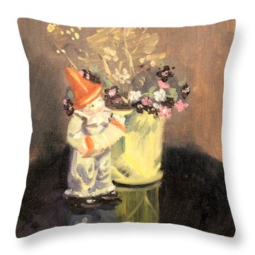 Clown And Flowers 1939 Throw Pillow
