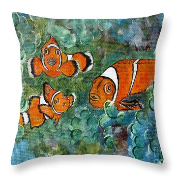 Clown Fish Art Original Tropical Painting Throw Pillow