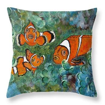 Clown Fish Art Original Tropical Painting Throw Pillow
