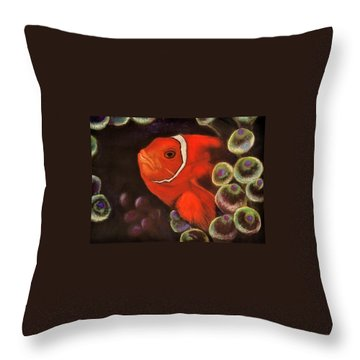 Clown Fish In Hiding  Pastel Throw Pillow