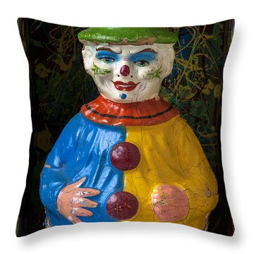 Clown Toy In Box Throw Pillow by Garry Gay