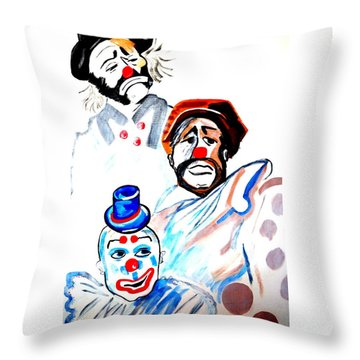 Throw Pillow featuring the painting Clowns In Heaven by Nora Shepley