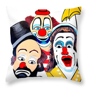Throw Pillow featuring the painting Clowns In Shock by Nora Shepley