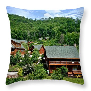 Cluster Cottages Throw Pillow by Frozen in Time Fine Art Photography