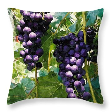 Clusters Of Red Wine Grapes Hanging On The Vine Throw Pillow by Lanjee Chee