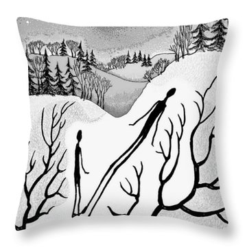 Throw Pillow featuring the digital art Clutching Shadows by Carol Jacobs