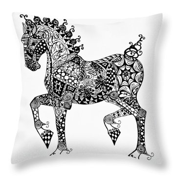 Throw Pillow featuring the drawing Clydesdale Foal - Zentangle by Jani Freimann