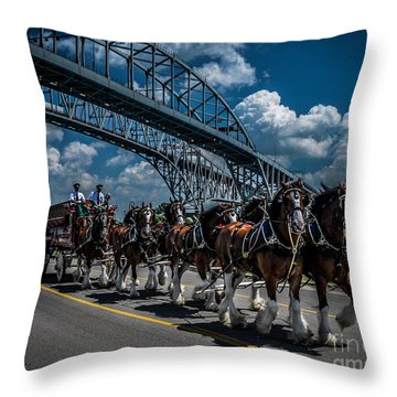Clydesdales And Blue Water Bridges Throw Pillow