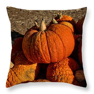 Throw Pillow featuring the photograph Knarly Pumpkin by Michael Gordon