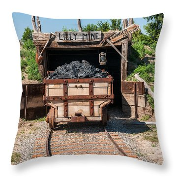 Throw Pillow featuring the photograph Coal Cart Leaving The Mine by Sue Smith