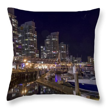 Throw Pillow featuring the photograph Coal Harbour By Night by Ross G Strachan