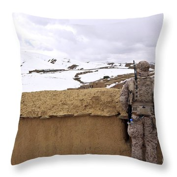 Coalition Forces Visit The Hazaran Throw Pillow by Stocktrek Images