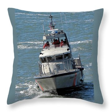 Coast Guard At Depot Bay Throw Pillow