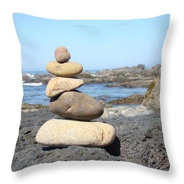 Coastal Beach Rock Stacking Art Prints Throw Pillow by Baslee Troutman