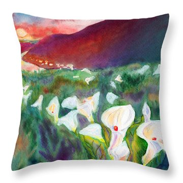 Coastal Callas Throw Pillow