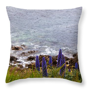 Coastal Cliff Flowers Throw Pillow by Melinda Ledsome