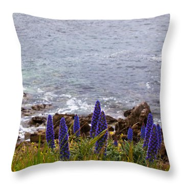 Coastal Cliff Flowers Throw Pillow