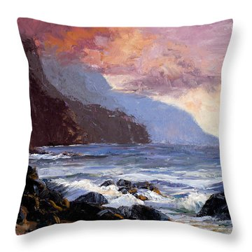Coastal Cliffs Beckoning Throw Pillow