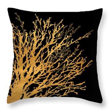 Coastal Coral On Black II Throw Pillow