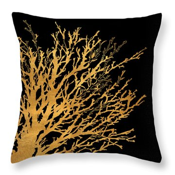 Coastal Coral On Black II Throw Pillow
