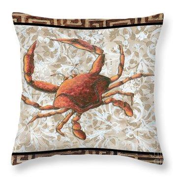 Coastal Crab Decorative Painting Greek Border Design By Madart Studios Throw Pillow by Megan Duncanson